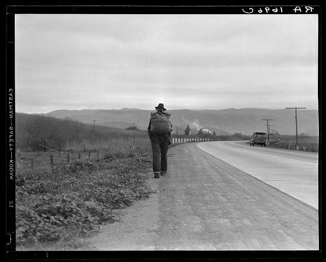 """Bum blockade."" All heading north. South of King City, California. Difficult to get a record of this movement because these men wouldn't be photographed as a result of Los Angeles police activity"