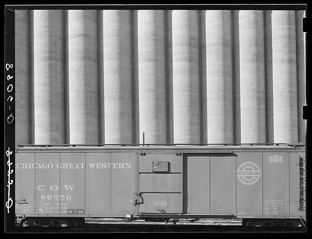 Freight car and grain elevators. Omaha, Nebraska
