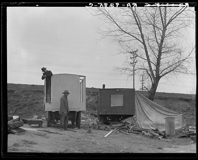A new home on wheels (father and son). Yuba County, California