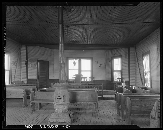 Interior of Negro church of the Mississippi Delta