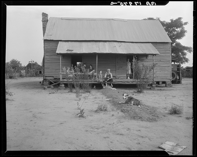 Landless family of cotton sharecroppers, Macon County, Georgia. For their labor they receive half the crop they produce, and the equivalent of ten dollars a month &quot;furnish&quot; (credit) from the landlord. Their vegetable garden failed this year for lack of rain