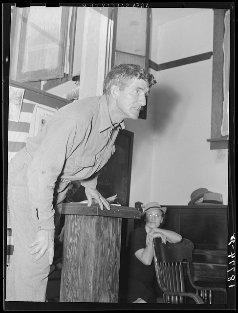 "Speaker, migratory worker, leader in the cotton strike, at Conference to Aid Agricultural Organization (Steinbeck Committee), Bakersfield, California. Saying: ""Brother, 'Hits pick seventy-five cent cotton or starve. Brother, 'hits pick seventy-five cent cotton or else"""