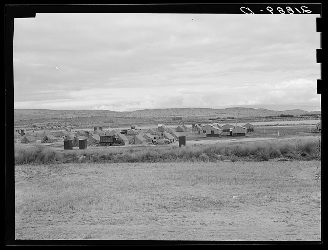 View of first FSA (Farm Security Administration) mobile camp unit in Klamath Basin, Oregon. See general caption 62