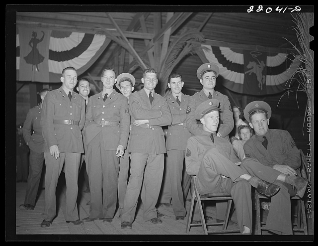 Brownsville, Texas. Charro Days fiesta. Enlisted men at El Rancho Grande