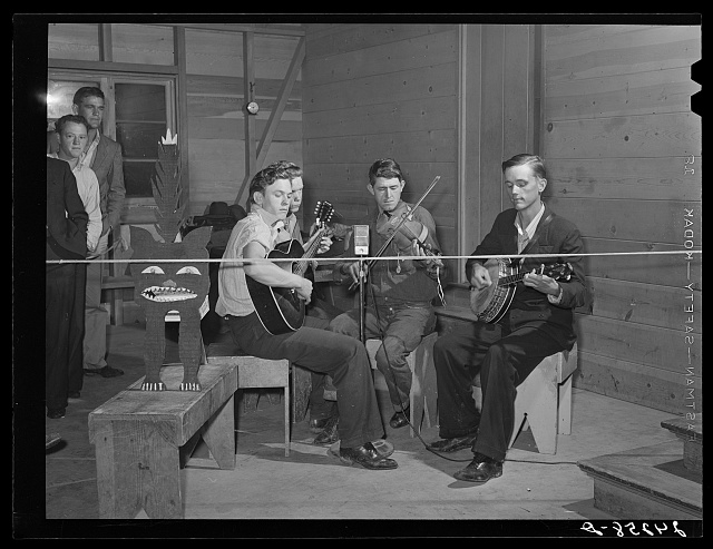 Band playing at Saturday night dance. Tulare migrant camp. Visalia, California