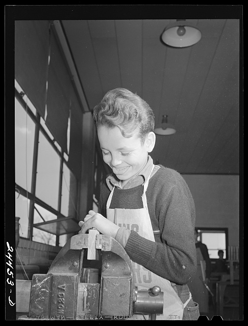 Boy in shop class. Homestead school, Dailey, West Virginia