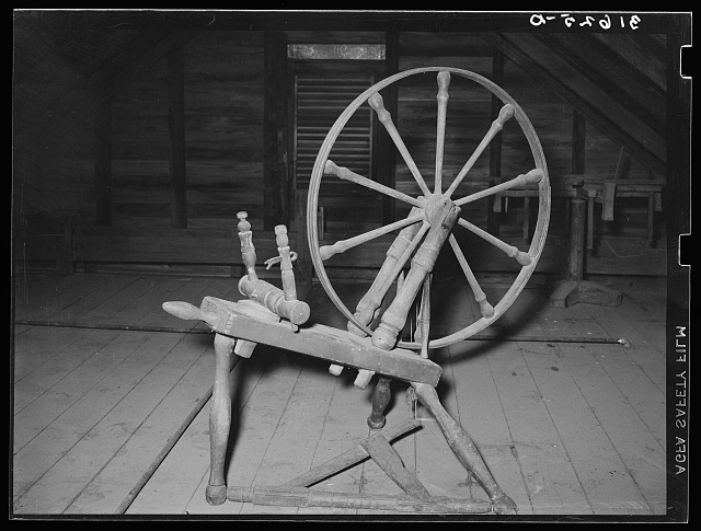 Spinning wheel in attic. Cajun farm home, Crowley, Louisiana