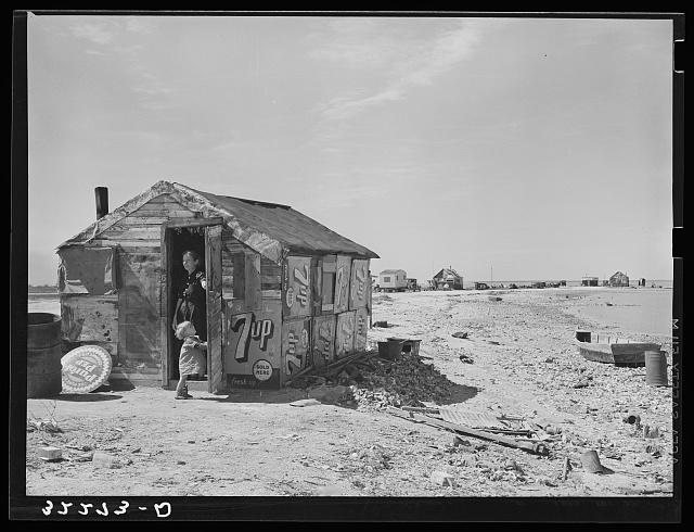 Shack of war veteran with view along Nueces Bay. Corpus Christi, Texas