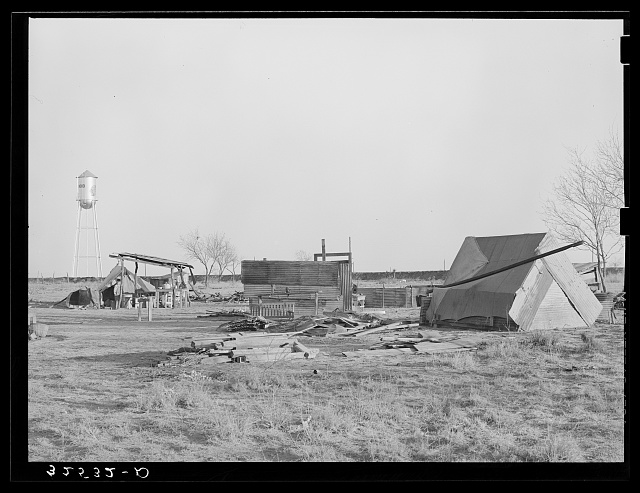 Camp of Mexican laborers working in and around El Indio, Texas. El Indio is a real estate development, rural and urban
