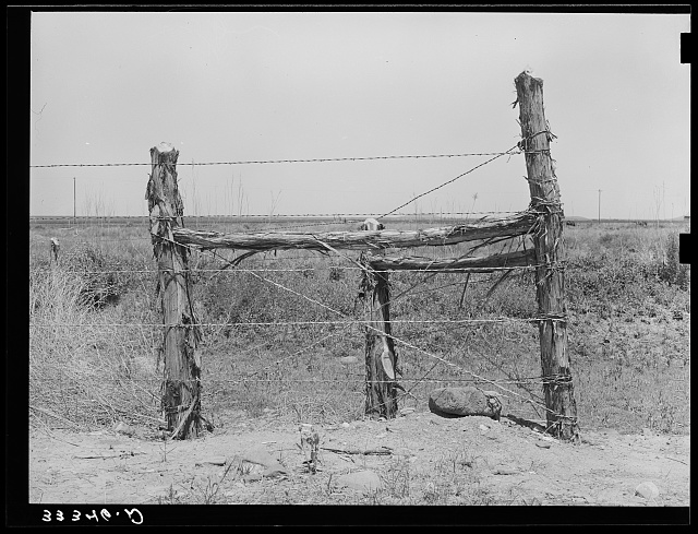 Corner post fence construction near Balmorhea, Texas