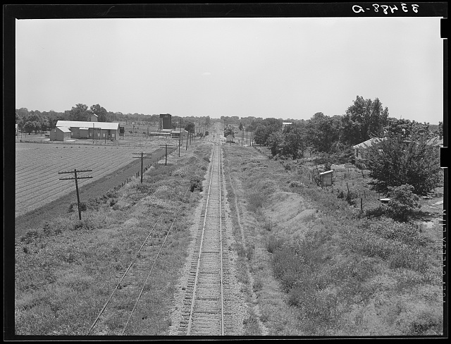 Railroad stretching through the countryside near Prague, Oklahoma