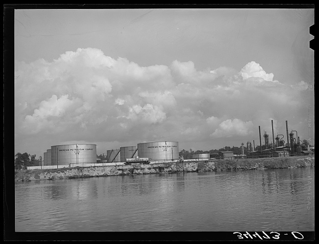 Oil refinery on the bank of the ship channel. Port of Houston, Texas