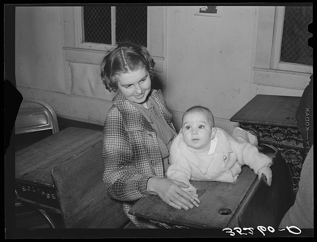Mother and child at pie supper in Muskogee County, Oklahoma. See general caption number 24