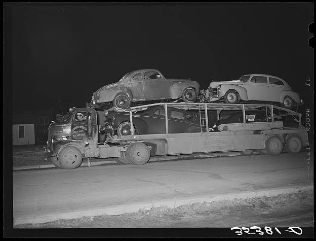 Auto transport passing through Eufaula, Oklahoma