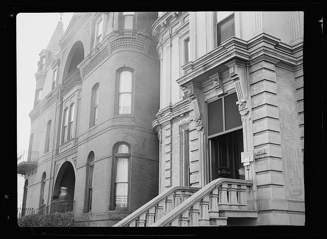 """1402 Massachusetts Avenue. Once a fine old home, now a boardinghouse. """"Blight"""" in Washington, D.C."""