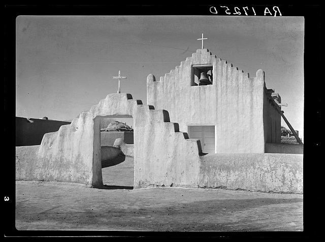 Old Spanish mission church at Taos Pueblo, New Mexico