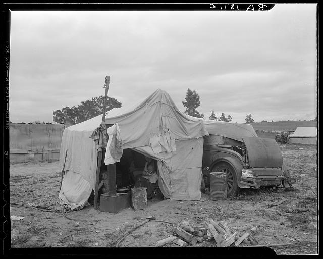 Pea picker's home. The condition of these people warrant resettlement camps for migrant agricultural workers. Nipomo, California