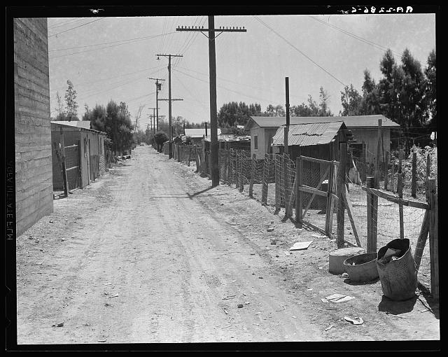 The slums of Brawley. Homes of Mexican field workers. Imperial Valley, California