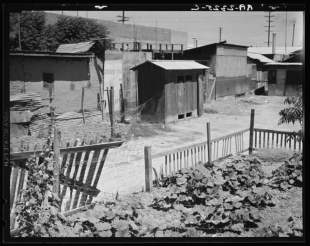 A street in Brawley, Imperial Valley. Homes of Mexican field laborers. California