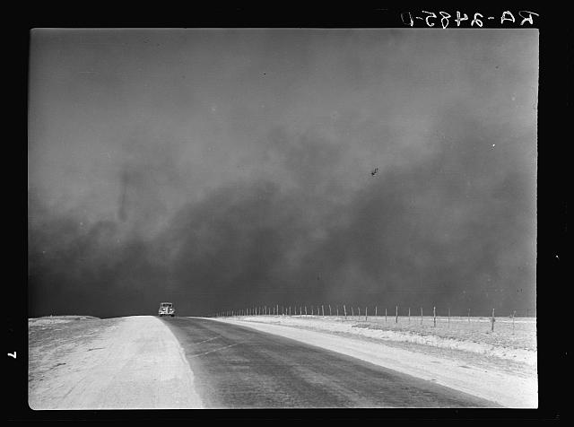Heavy black clouds of dust rising over the Texas Panhandle, Texas