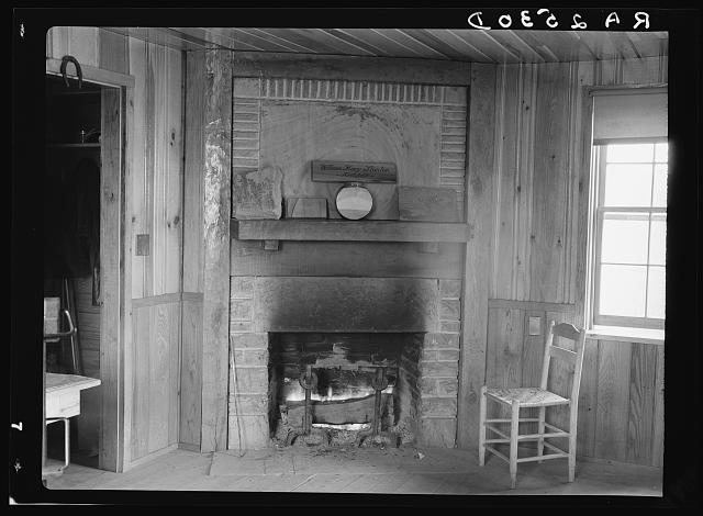 Fireplace in office of Cumberland Homesteads. Crossville, Tennessee