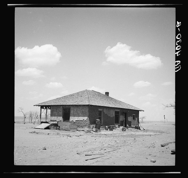 Adobe farmhouse of rehabilitation client. Cimarron County, Oklahoma. Dust bowl