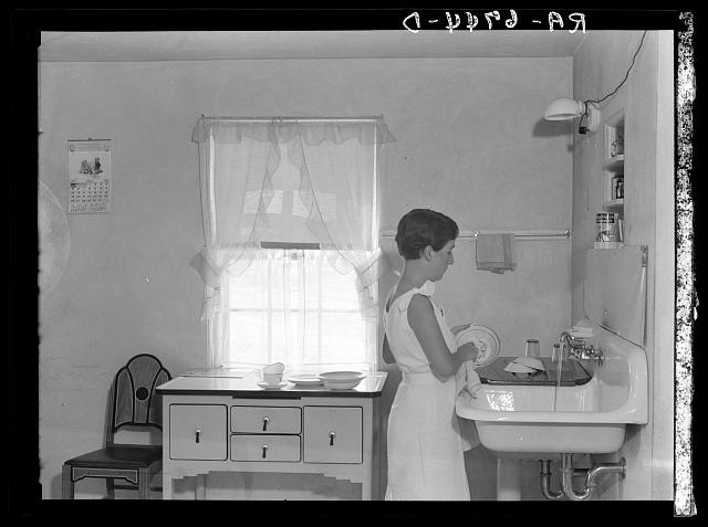 Kitchen in one of the new homesteads. Tygart Valley, West Virginia