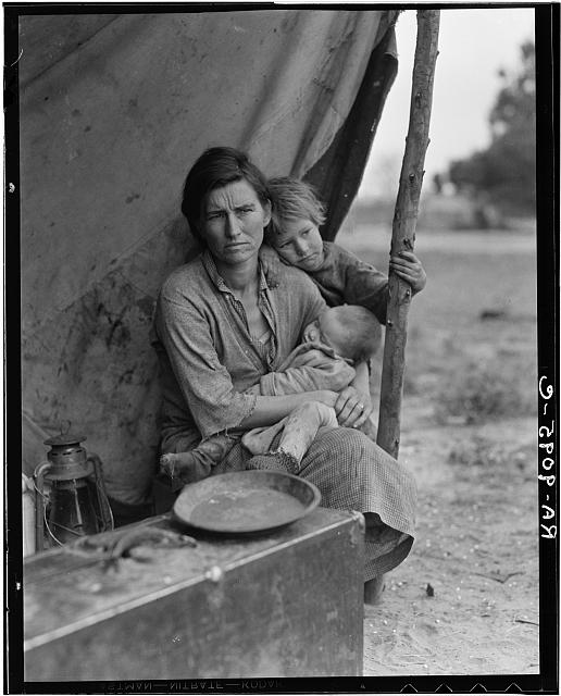Migrant agricultural worker's family. Seven children without food. Mother aged thirty-two. Father is a native Californian. Nipomo, California
