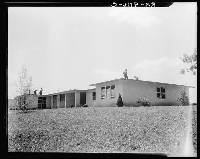 Hightstown, New Jersey. Type house for two families (incomplete). Will be ready for occupancy July, 1936
