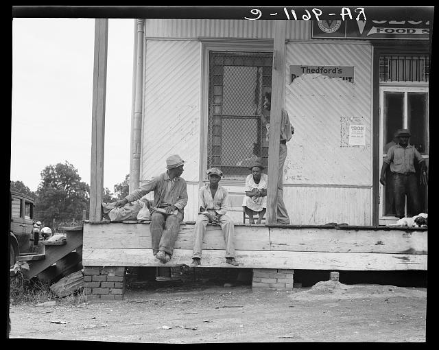 Negroes hanging around the plantation store. Mississippi Delta