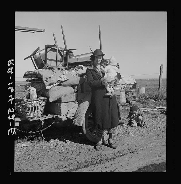 "Missouri family of five, seven months from the drought area. ""Broke, baby sick, car trouble."" U.S. 99 near Tracy, California"