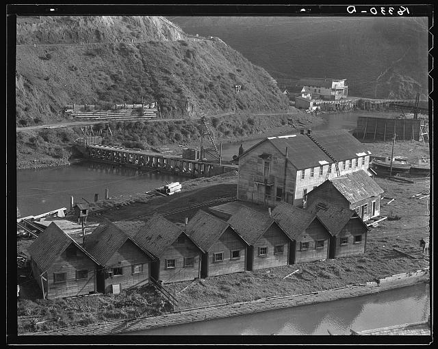 Lumber industry of the California north coast. Abandoned lumber town showing mill and houses. Mendocino County, California