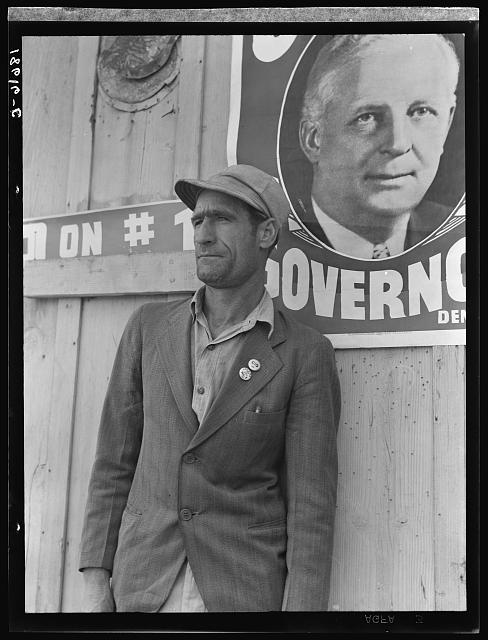 "He came from an Oklahoma farm in April, 1938. Became a migratory farm worker in California, joined the United Agricultural Packing and Allied Workers of America (Congress of Industrial Organization-CIO) at the beginning of the cotton strike of October, 1938 and became the leader of the ""Flying Squadron"" which attempted to picket the large fields of corporation farms by automobile caravans. He drove the first car. Kern County, California"
