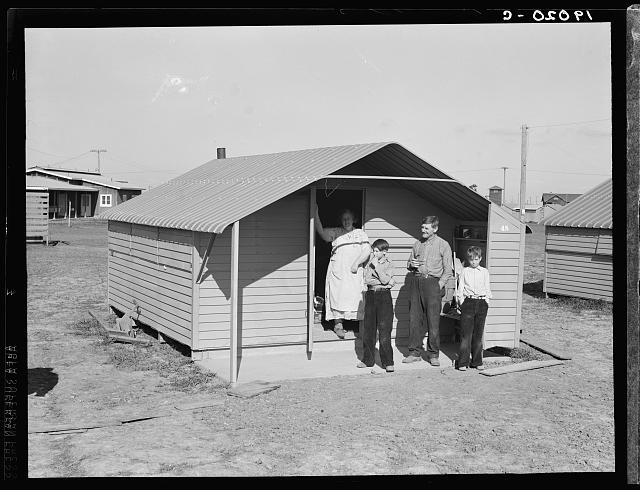 Migrant family from Oklahoma, first occupants of Westley camp. California