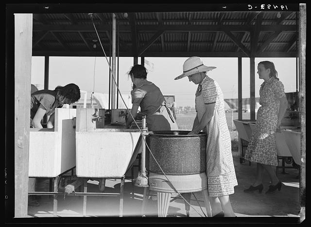 Laundry facilities in Farm Security Administration (FSA) migrant labor camp. Westley, California