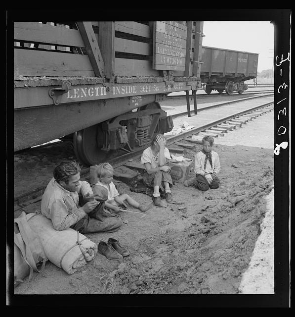 Family who traveled by freight train. Washington, Toppenish, Yakima Valley