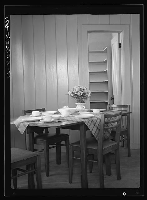Dining room interior. Plum Bayou Homestead, Arkansas