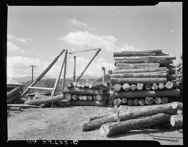 Logs at sawmill at Morrisville, Vermont