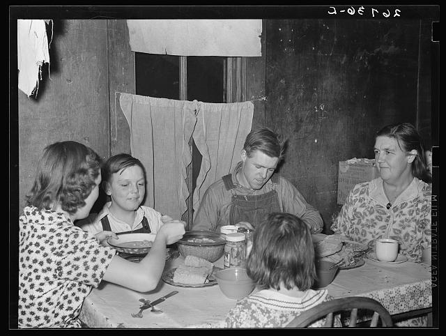 WPA (Works Progress Administration) worker and family at dinner. Zeigler, Illinois
