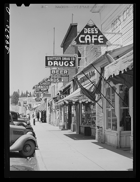 Street scene. Cascade, Idaho. Cascade is a microcosm of Idaho's past and present--all the industries of the state, including lumbering, mining, agriculture, stock raising and tourist trade are apportioned to this town and its valley