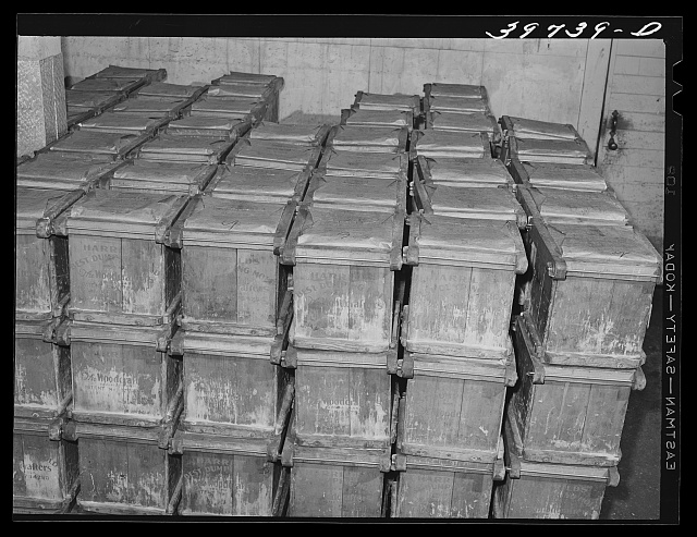 Tubs of butter at the Dairymen's Cooperative Creamery. Caldwell, Canyon County, Idaho