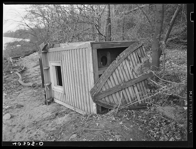 Providence, Rhode Island. Outhouse on bay shore after a New England hurricane