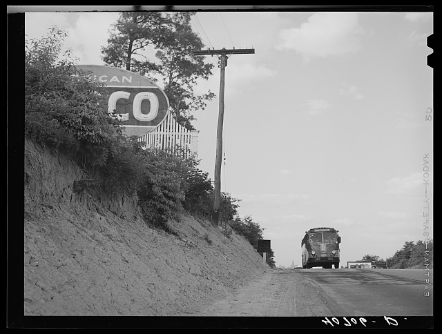 Greyhound bus on U.S. Highway No. 1, near Saint Dennis, Maryland