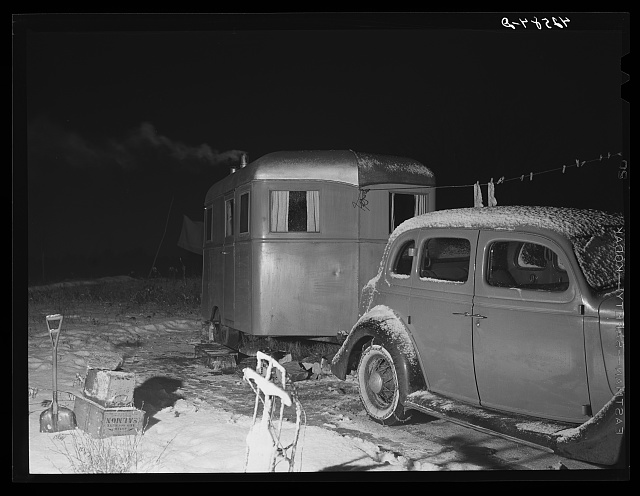 Trailer and car occupied by Mr. and Mrs. Clyde Burton (refer to caption #42581). Bath, Maine
