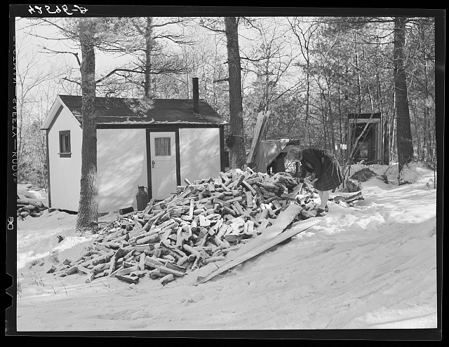 Mrs. M. Lane, young wife of a shipyard worker, gathering some wood just outside her one-room shack. The shack and little privy were built for them by her father. Made of celetex board. Bath, Maine