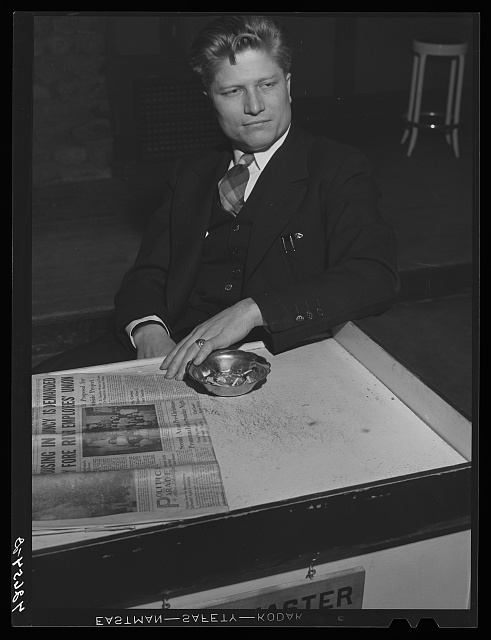 Lucien Koch, organizer in Quincy, Massachusetts for the IUMSWA (Industrial Union of Marine and Shipbuilding Workers of of America). He is active in organizing a committee to demand a housing program for Quincy