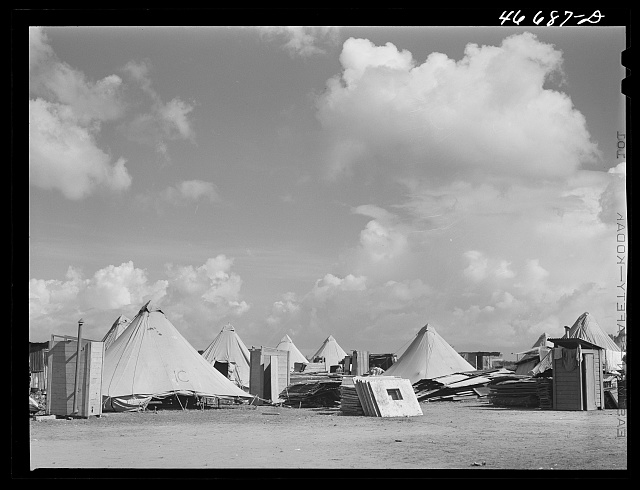 Bayamon, Puerto Rico (vicinity). Tent colony of twenty-five families who had been squatters on land taken over by the Navy. They are to be resettled by the land authority