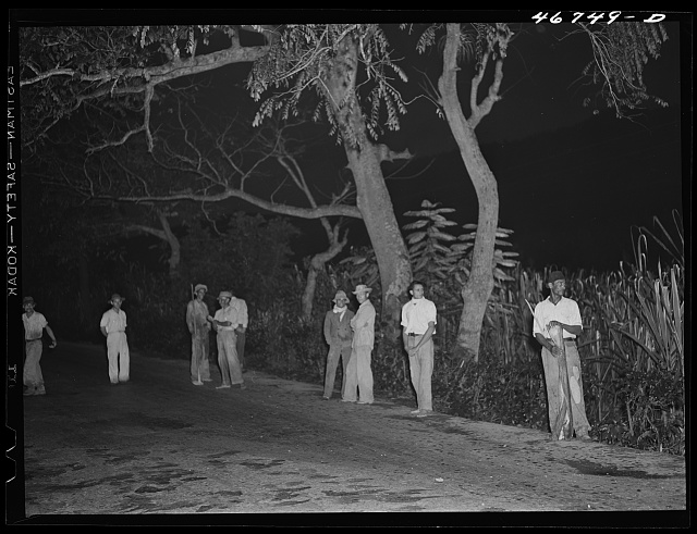 Bayamon, Puerto Rico (vicinity). Men waiting at six o'clock in the morning between Bayamon and Caguas for truck to take them to work in the sugar cane fields