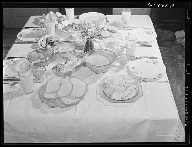 Balanced diet at Helms family supper: roast beef (home canned) turnip greens, potato salad, stuffed eggs, lima beans, rice, pear pickles, biscuits, cornbread, butter, milk, peaches, cake. Coffee County, Alabama