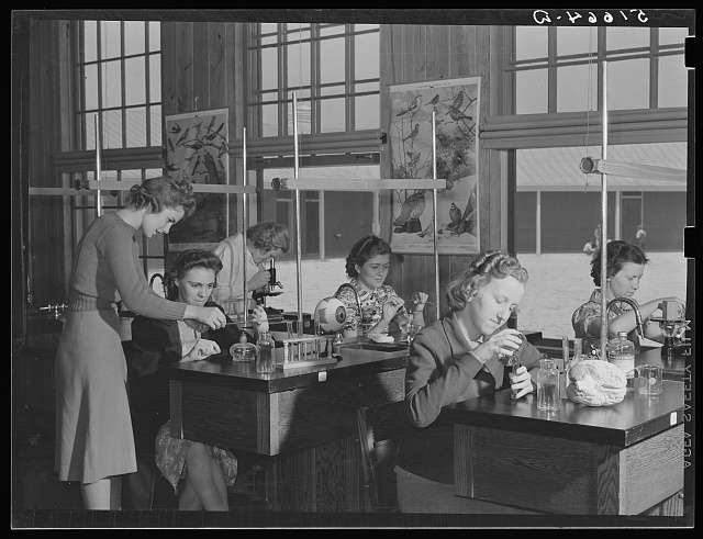 Science class in school at Ashwood Plantations, South Carolina